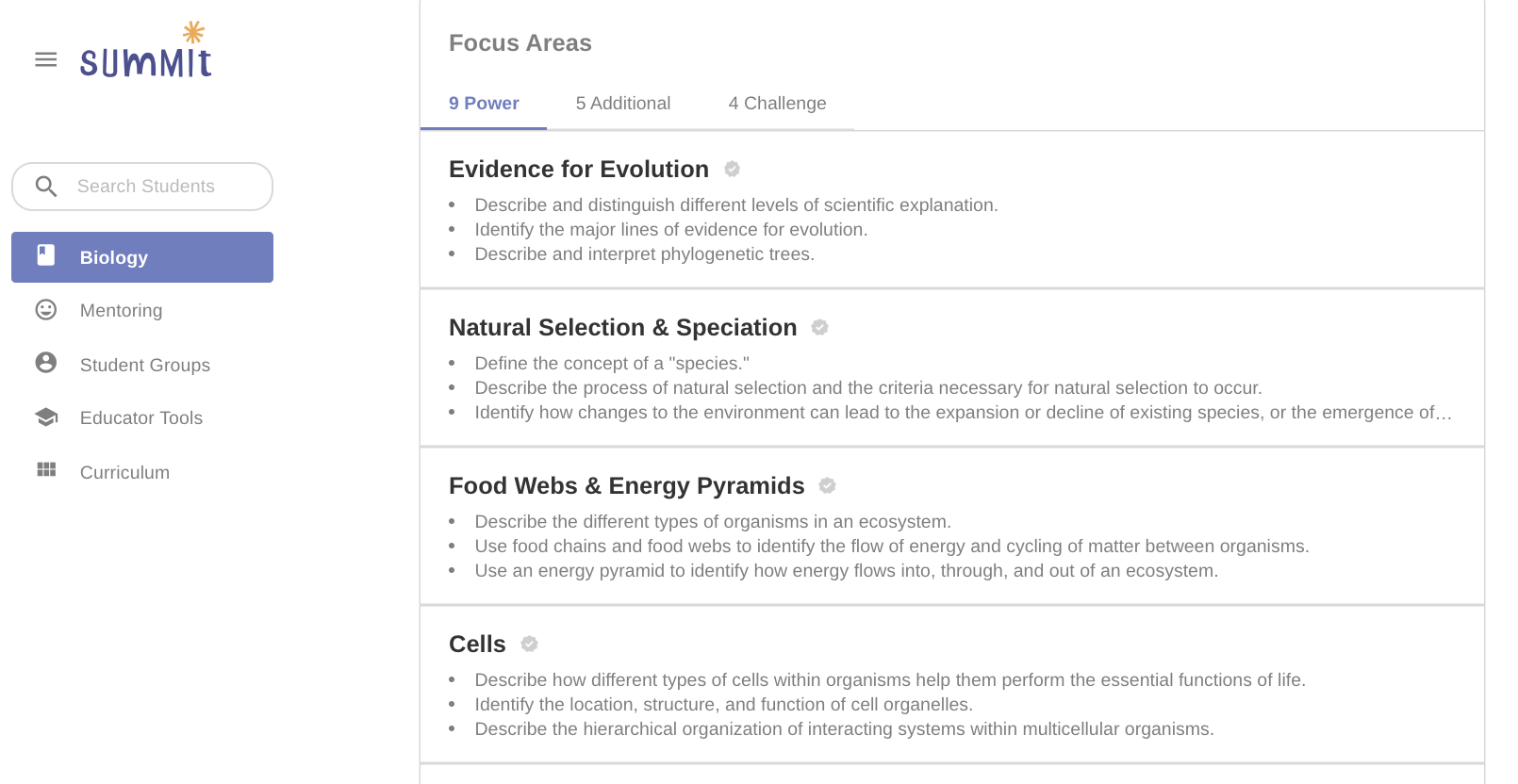 The Focus Area Page – Summit Learning
